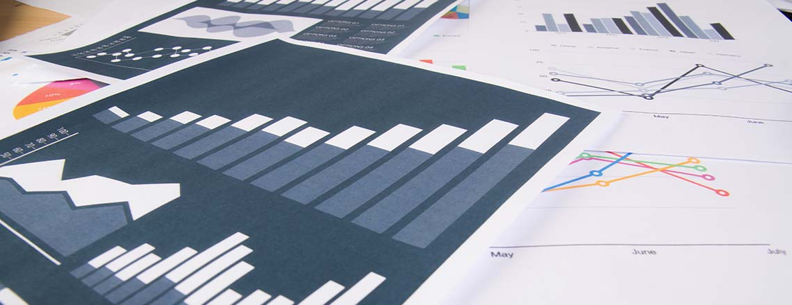 Sheets of paper with images of graphs on the papers